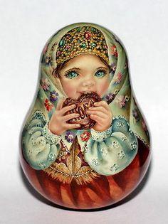 1-kind-art-paint-roly-poly-nesting-matryoshka-Russian-author-doll-girl-beauty