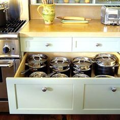 Must-Have Kitchen Features- deep drawer for pot & pan storage