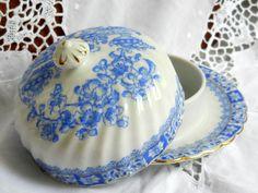 blue vintage butter dish vintage covered butter dish blue porcelain blue butter dish china blau german porcelain by minoucbrocante on Etsy