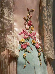 Blush silk satin and ivory silk chiffon Evening Dress, detail, French 1922, photo by mharrsch via Flickr.