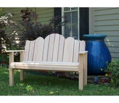 Adirondack Garden Bench Made from Southern Yellow Cypress with a strong tolerance to environmental elements and insects. Comes with all necessary hardware for easy installation.
