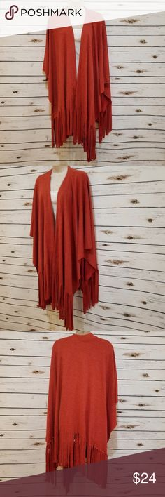 """Orange Shawl/Wrap Fringe Sm/Med NWOT Indigo Thread Co. Size: Small/Medium Please see pictures for measurements Approximately 47"""" across the front when laying flat Indigo Thread Co Accessories Scarves & Wraps"""