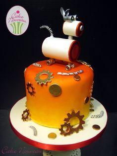 Adorable steampunk robot dog cake by Cake Nouveau