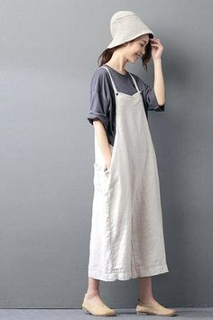 Beige Cotton Linen Casual Loose Overalls Big Pocket Maxi Size Trousers Fashion Jumpsuit