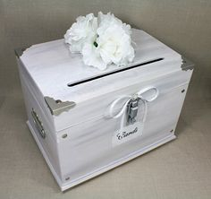White Washed Wooden Wedding Card Box Trunk. Vintage Shabby Chic ...