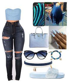 """light and dark blue"" by queenamya123 on Polyvore featuring Julien David, Puma, adidas Originals, Casetify, Prada, La Perla and Elise M."