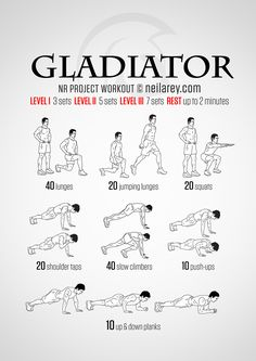 What we do in life echoes in eternity... Gladiator no-equipment workout for intermediate and advanced fitness levels.