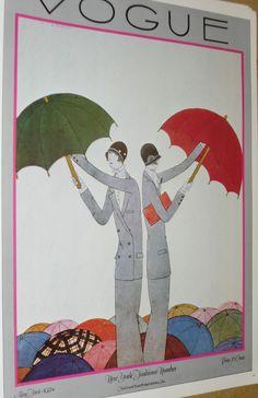 Vintage VOGUE Art Deco Poster Old Magazine Cover New York Fashions Glamour 1924 #ArtDeco