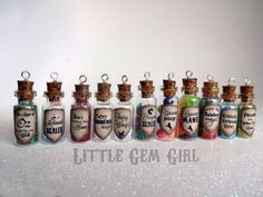 Magic Potion Bottle Necklace - 1 CUSTOM You Design Glass Bottle Cork Necklace - Potion Vial Charm - Liquid Shimmer or Glitter - Magic Spells