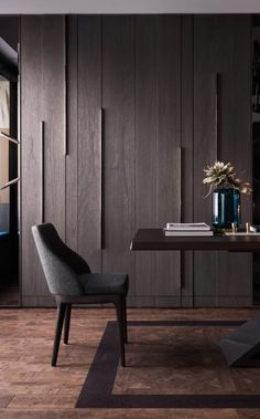 The lined accents on these cabinets give it an Art Deco feel Wardrobe Door Designs, Wardrobe Design Bedroom, Closet Designs, Bedroom Decor, Wardrobe Doors, Closet Doors, Wardrobe Ideas, Interior Walls, Modern Interior