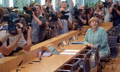 In focus: the German chancellor Angela Merkel talks to journalists about the current state of domestic and international politics before the summer break at the Bundespresskonferenz in Berlin, Germany