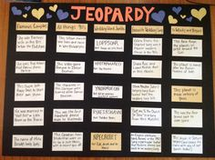 Jeopardy questions for Jack and Jill party. Make it personal or keep it generic. Super fun.