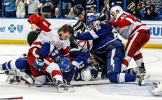 The Detroit Red Wings vs. Tampa Bay Lightning series summed up in one photo. http://ift.tt/23MAsGD Love #sport follow #sports on @cutephonecases