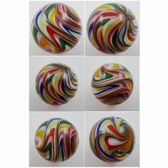 <<SOLD>> AWESOME Rick Davis Art Glass 2.0 inch Multi Color Marble Handmade Boro MINT