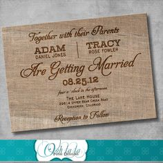 Rustic Burlap Wedding Invitation - DIY - Printable - CUSTOMIZABLE