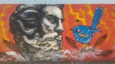 Netuno e o Pássaro Azul  Mateus Greff Xamã, Arte de São Leopoldo, Vale dos Sinos, Rio Grande do sul, Graffiti, Urban Art, Bird!!!