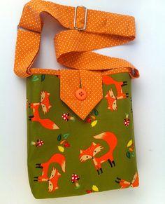 Handbag for Girls, Fox Tote, Small Cotton Fabric Purse, Cute Carryall Bag, fashionable crossbody