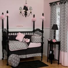 Black and White Damask Crib Bedding - traditional - kids - atlanta - Carousel Designs