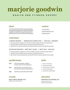 Pale Green And White Simple Modern Resume  Resume