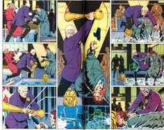 This is section from The Watchmen comics illustrated by Dave gibbons. His style is very effective, it draws you into whats going on very well. The dark black lines create definition and brings the characters to life.