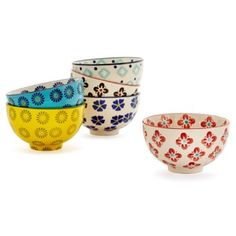 Check out this item at One Kings Lane! S/6 Assorted Spring Floral Bowls