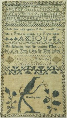 "LATE 18TH CENTURY ""HUMMING BIRD"" & ALPHABET SAMPLER BY BETTY TAYLOR - 1794 