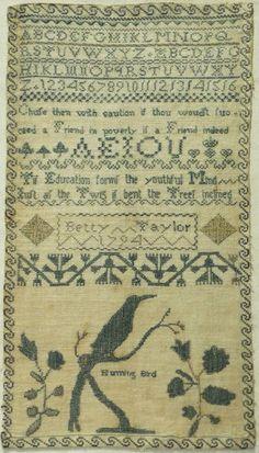 "LATE 18TH CENTURY ""HUMMING BIRD"" & ALPHABET SAMPLER BY BETTY TAYLOR - 1794 | eBay"