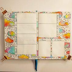 Rainbow rain clouds Weekly bullet journal spread // Bujo Weekly layout ideas // planner art inspiration #bujoideas #bulletjournalweekly