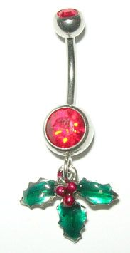 Holiday Mistletoe Dangle Belly Ring