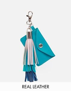 Image 1 of ASOS Leather Keyring With Tri-coloured Tassel & Card Holder