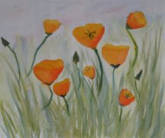 Poppy watercolor done by 4th grader