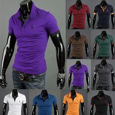 Summer New Men's Slim Short Sleeve T-shirt Casual Polo Shirts Fashion Tops Mens Slim Shorts, Cool T Shirts, Casual Shirts, Chemise Fashion, Men's Fashion, Bohemian Fashion, Fashion Styles, Spring Fashion, Embroidered Polo Shirts