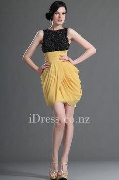Sleeveless Black Lace Top Yellow Chiffon Bud Cocktail Dress