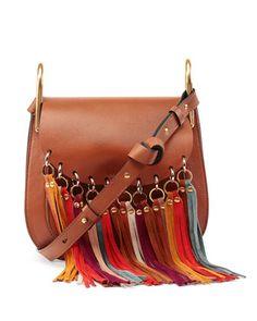 Hudson Fringe-Trim Leather Shoulder Bag, Caramel by Chloe at Neiman Marcus.