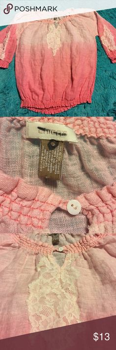 Chico's size 0 Beautiful pink top with lace. Pre-owned ombre pink top by Chicos with lace accents elastic at arms and waist. Size 0. Chico's Tops Blouses