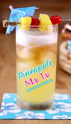 Pineapple Mai Tai Cocktails are tasty and refreshing for an amazing drink to sip on by the pool or days when you are dreaming of the beach! It's the fruity cocktail that you've been craving. Mai Tai Cocktail Recipes, Fruity Cocktails, Refreshing Drinks, Cocktail Drinks, Fun Drinks, Yummy Drinks, Beverages, Mixed Drinks, Most Delicious Recipe