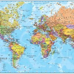 Political World Map Wallpaper Mural World Map Mural, World Map Wallpaper, World Map Poster, Full World Map, Wall Maps, High Quality Wallpapers, Gsm Paper, Politics, Free