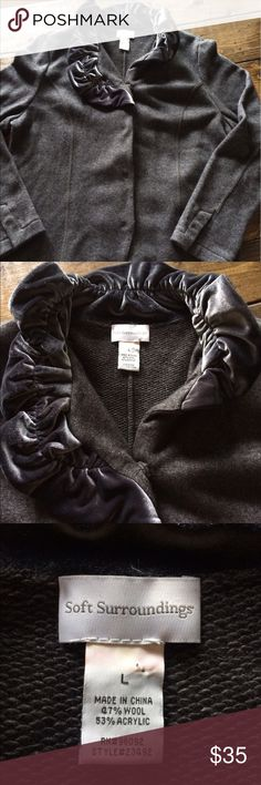 Soft Surroundings Wool Satin Cardigan Large Gorgeous condition! Size large soft surroundings Sweaters Cardigans