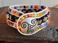 SOLD - A Thousand Flowers Millefiori Bead 3 Row Leather Cuff