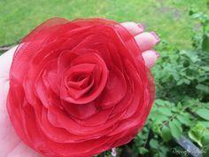 Wedding Hair Flower  Red Organza Double Rose by RainwaterStudios, $30.00