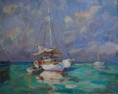 James P Kerr....Coming Aboard 24x30 oil on linen at Cacace Fine Art in Artist Alley of Delray Beach