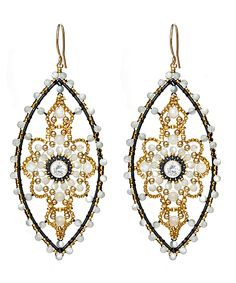 miguel ases   Miguel Ases Mother of Pearl Oval Chandelier Earrings
