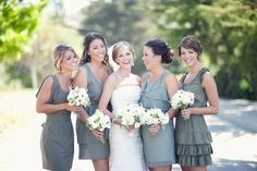 I like the color & different styles of the bridesmaid dresses.