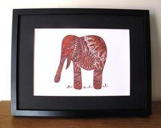 Elephant art printanimal artelephant by heARTofNatureStudio