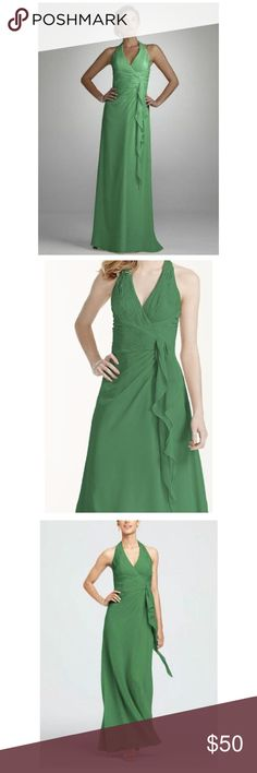 Clover Soft Crinkle Chiffon Halter Draped Cascade Soft Crinkle Chiffon Halter Draped Cascade DAVID'S BRIDAL style # F12688 size: 6 color: clover (green)  This halter dress is perfect for any event, and flattering on any figure. It's all in the details, and they're all in the right place.  Soft crinkle chiffon creates a flowing silhouette and beautifully draped cascade detail. Crisscross ruched bodice creates a feminine hourglass shape. Back zip. Fully lined. polyester. Dry clean only…