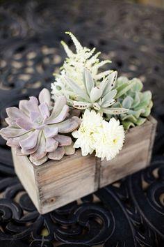 Succulents in Wooden Box Wedding Centerpiece / http://www.himisspuff.com/wooden-box-wedding-decor-centerpieces/8/
