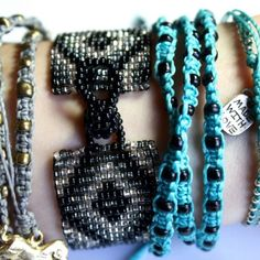 """Ketzali """"Xubal Handmade Triple Wrap Bracelet"""" In Turquoise with black beads, 26"""" around, 100% Poly Waxed Thread, Metal Beads, Handmade by skilled artisans in Guatemala, mix & match! For sale as individuals or with Ketzali """"Tzuel Textile Pouch""""- $32., with Makeup bag- $42, with Makeup bag, Pouch, and 1 Bracelet- $58, with 2 Bracelets- $72. Ketzali Jewelry Bracelets"""