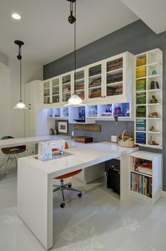 Closet Factory — All white melamine office set-up....