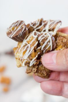 Better than Sex Chex Mix really ups the game with added caramel, peanut butter cups, marshmallows, and more chocolate. Whatever you call it, it's wonderful. Christmas Trash Recipe, Xmas Food, Snack Mix Recipes, Dessert Recipes, Xmas Recipes, Candy Recipes, Delicious Desserts, Yummy Food, Tasty