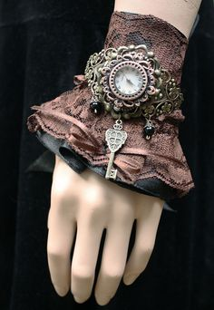 Gothic Lolita watch cuff by ~Pinkabsinthe on deviantART, might be fun to wear with a long-sleeve black tee shirt. #SteamPUNK ☮k☮ Victorian Gothic, Dark Fashion, Captain Hat, Wedding Jewelry, Wicked, Diy Wedding Jewellery, Witches, Wedding Decorations